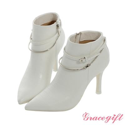 Grace gift X Mandy-聯名異材質雙踝帶尖頭細跟靴 白它料