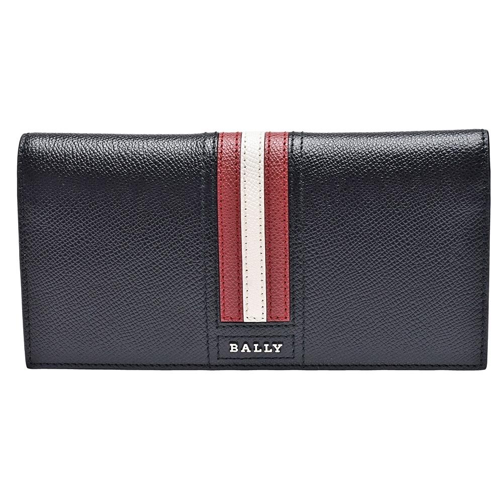 BALLY 經典紅白紅條紋荔枝紋牛皮摺疊折疊長夾(黑)