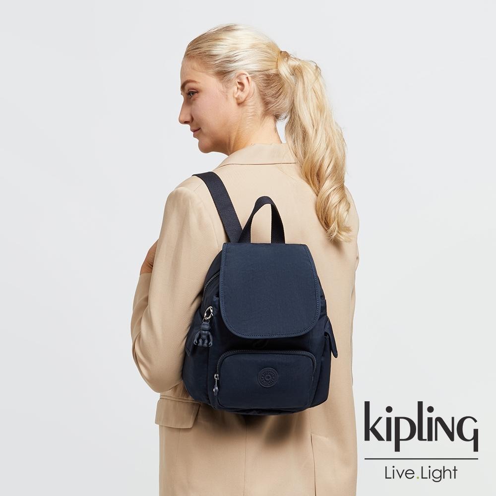 Kipling 都市沉穩藍拉鍊掀蓋後背包-CITY PACK MINI