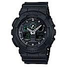 G-SHOCK玩酷潮流風玩家反轉液晶休閒運動錶(GA-100MB-1A)-霧面黑X綠/52