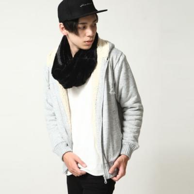 連帽外套內絨毛素色夾克保暖內刷毛(4色) ZIP日本男裝