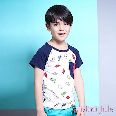 Mini Jule 上衣 恐龍雙色口袋拼接短袖T恤(白)