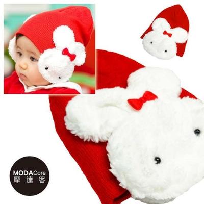 【摩達客】兒童嬰幼兒毛絨白兔兔保暖護耳毛線針織帽(紅色)