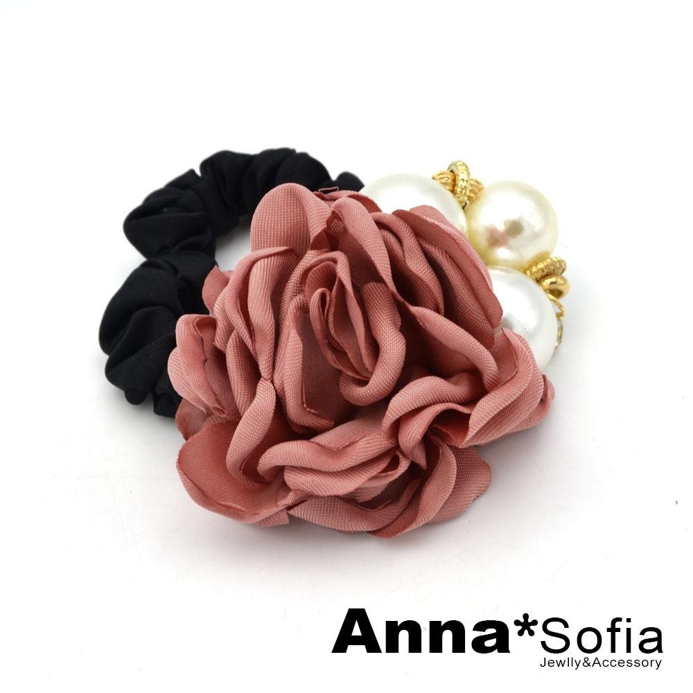 【滿額再7折】AnnaSofia 層綻茶花款 純手工彈性髮束髮圈髮繩(嫣紅系)