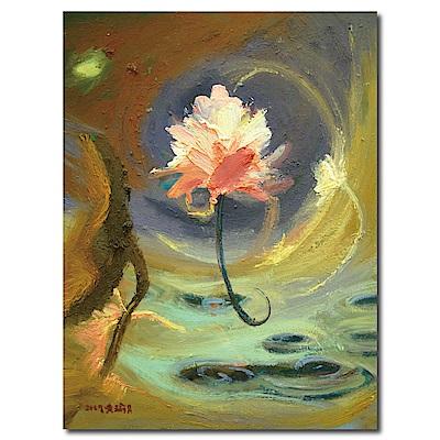 橙品油畫布-單聯式直幅 掛畫無框畫-蓮花-30x40cm