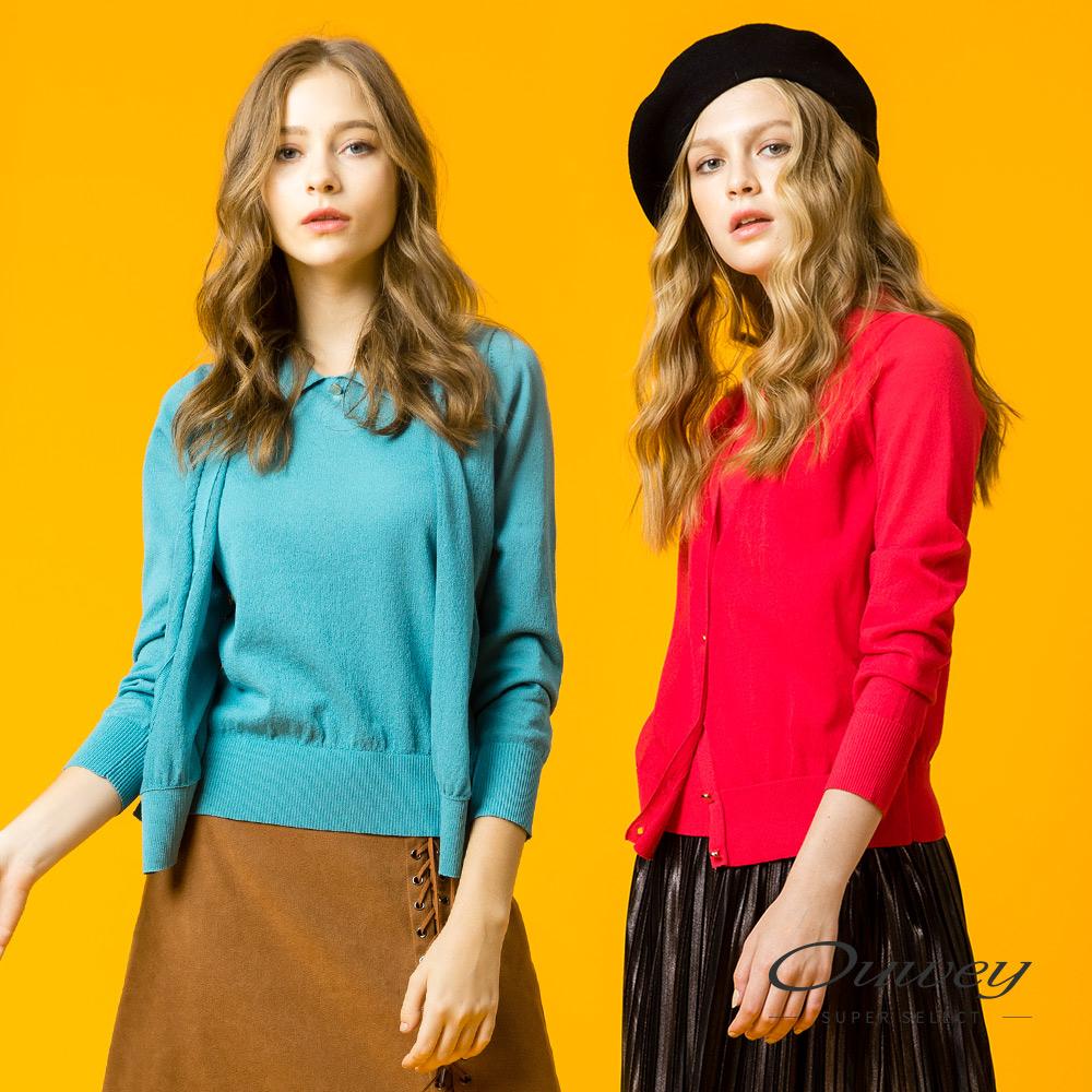 OUWEY歐薇 簡約開襟假兩件針織衣(藍/紅)