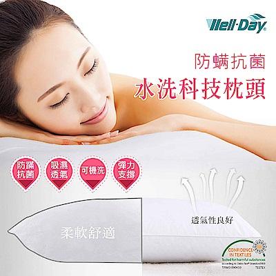 【WELL-DAY 晶晏】防蹣抗菌水洗科技枕頭(2入+銀纖維枕巾)