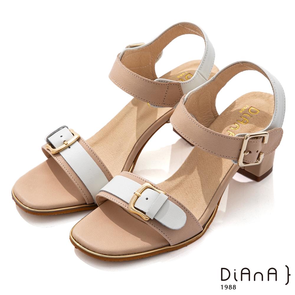 DIANA 7cm 質感牛皮撞色拼接皮帶釦一字涼鞋-浪漫戀曲-米x白