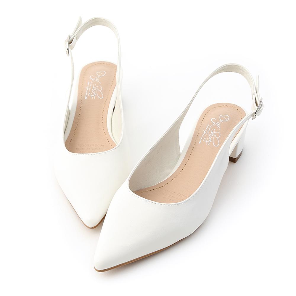 D+AF 甜彩春氛.素面尖頭後空中跟鞋*白