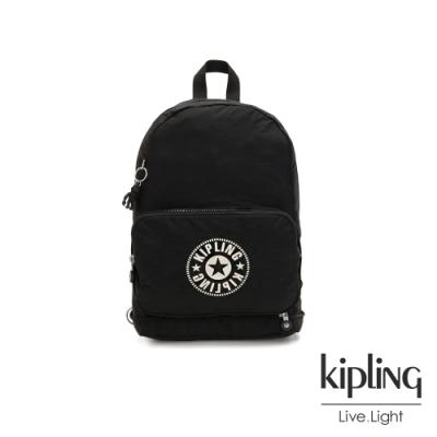 Kipling 俐落簡約經典LOGO黑色後背側背包-CLASSIC NIMAN FOLD