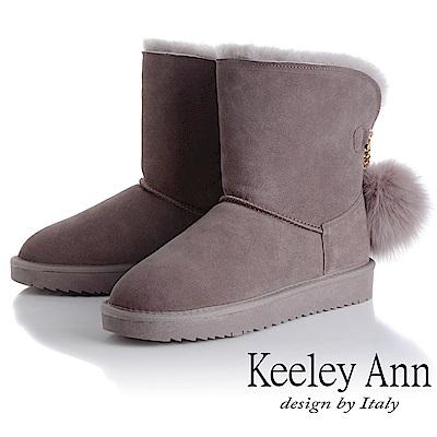 Keeley Ann 氣質甜美~毛球飾扣內刷毛中筒雪靴(豆沙色-Ann系列)