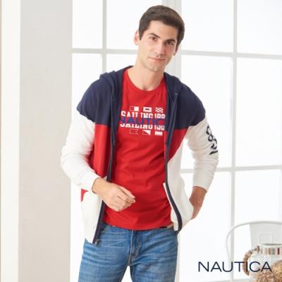 Nautica拼接造型連帽針織外套-白色