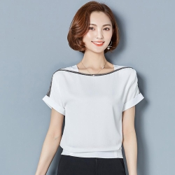 ALLK 一字領鑲鑽雪紡衫上衣 共3色(尺寸M-XXL)