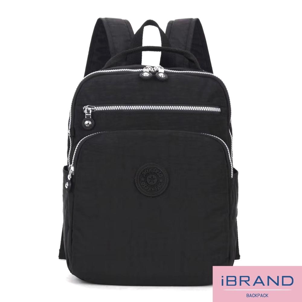 iBrand後背包 輕盈防潑水素色雙拉鍊尼龍後背包-黑色