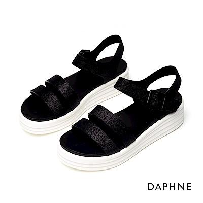 達芙妮DAPHNE 涼鞋-簡約雙條帶潮流厚底涼鞋-黑色
