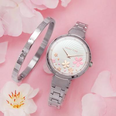 RELAX TIME RT-66系列 櫻花腕錶(RT-66-6)-銀x白/37mm 贈櫻花雙面手環