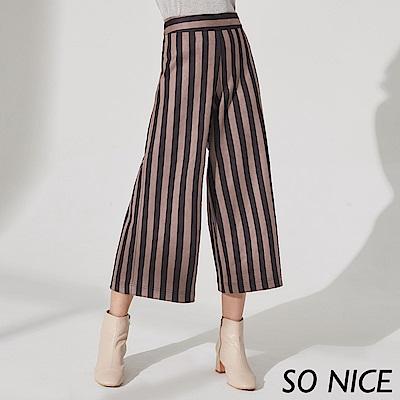 SO NICE率性條紋麂皮寬褲