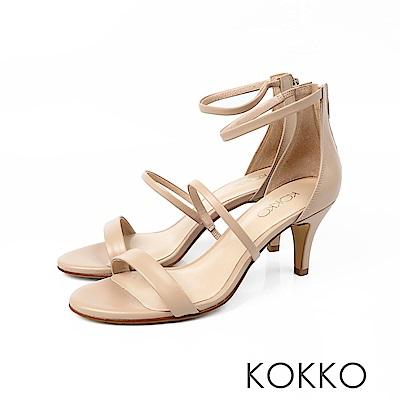 KOKKO - 凡爾賽玫瑰細帶羊皮高跟涼鞋 - 奶茶裸