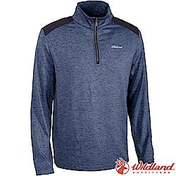 Wildland 荒野 0A62602-49深灰藍 男彈性針織雙色保暖上衣