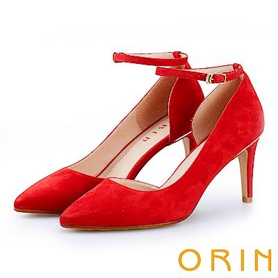 ORIN 時尚名媛 素面羊皮繫帶尖頭高跟鞋-紅色