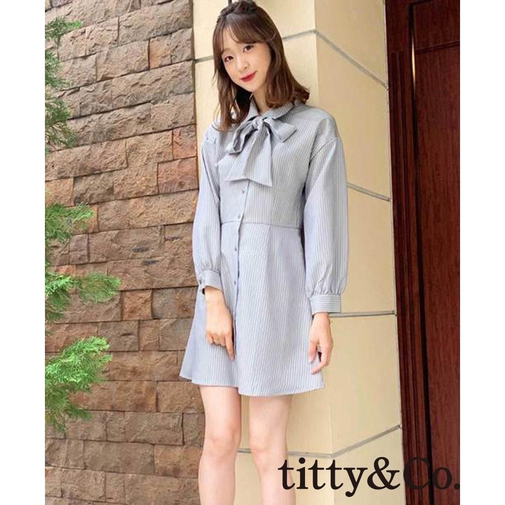 titty&Co.條紋蝴蝶結襯衫式洋裝(3色)