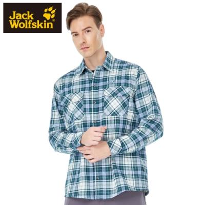 【Jack wolfskin 飛狼】男 經典格紋排汗長袖襯衫 『綠格紋』