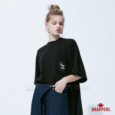 BRAPPERS 女款 寬鬆側襬拉鍊印花五分袖上衣-黑