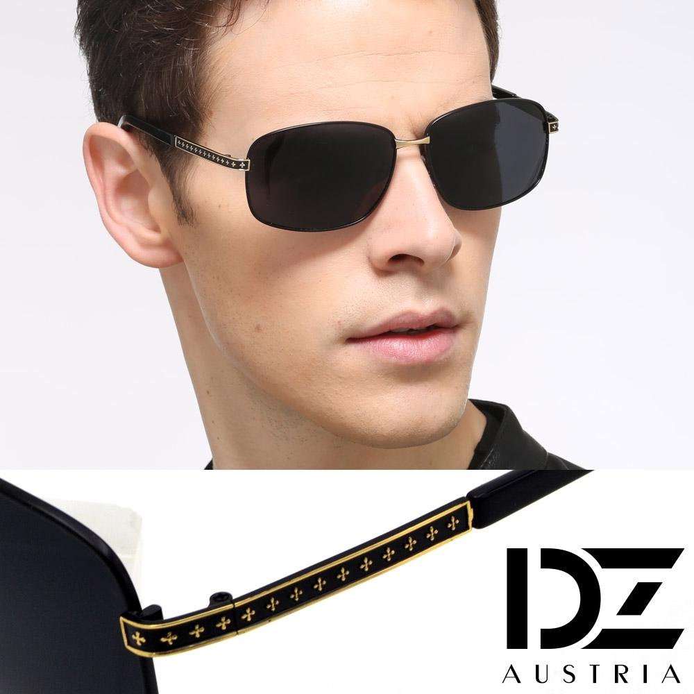 DZ 十字騰鏡腳 抗UV 防曬偏光太陽眼鏡墨鏡(黑框黑灰片)