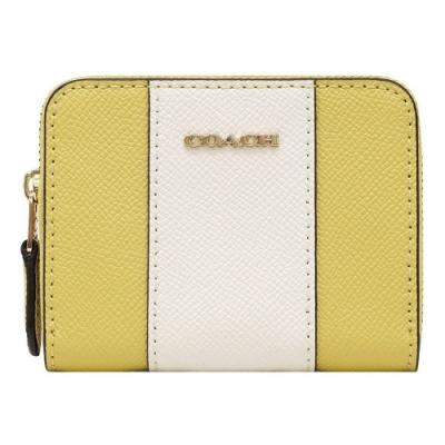 COACH 經典立體馬車LOGO 雙色零錢包/鑰匙包-黃白色