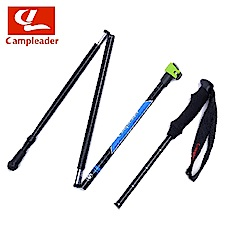 campleader 高強度鋁合金特殊鎖點折疊炫彩登山杖 兩色任選