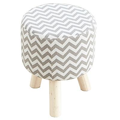 澄境 波浪造型亞麻布實木腳沙發椅凳
