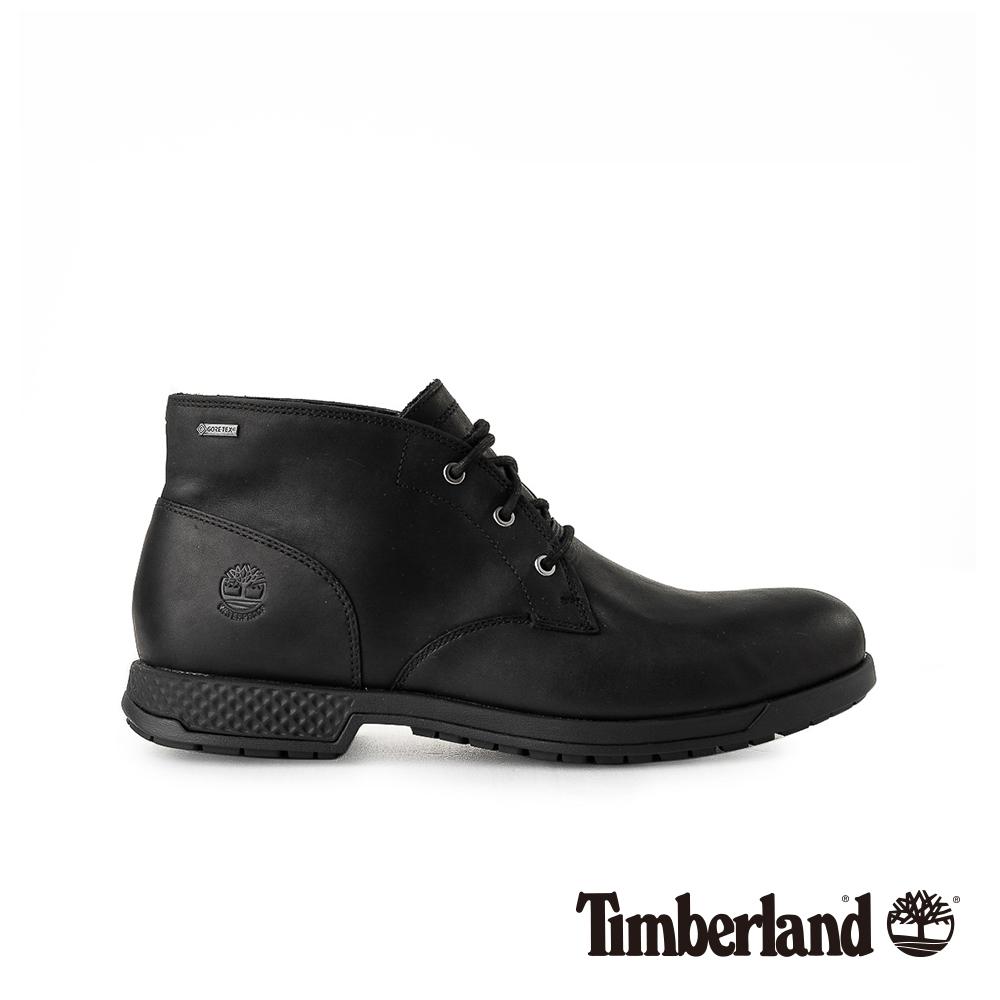 Timberland 男款黑色全粒面皮革休閒鞋|A1SMX