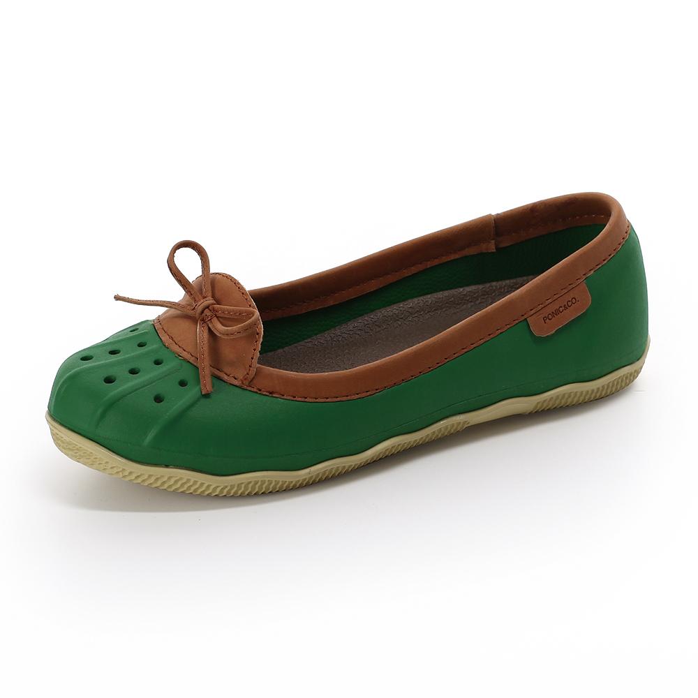 (女)Ponic&Co美國加州環保防水真皮滾邊娃娃鞋-綠色