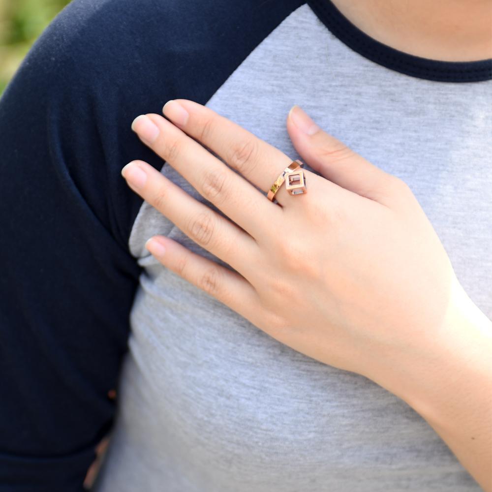 CALVIN KLEIN Da戒指 系列鏤空立體方塊造型玫瑰金戒指-7