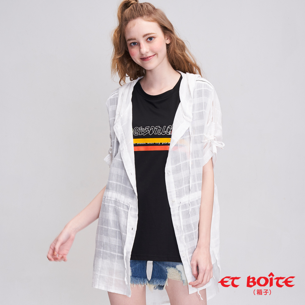 ETBOITE 箱子 緹織素格連帽長罩衫(白)