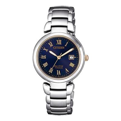 CITIZEN 星空銀河鈦金屬光動能腕錶-星空藍(EW2509-83L)-28mm