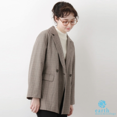 earth music 經典格紋/素面口袋西裝外套