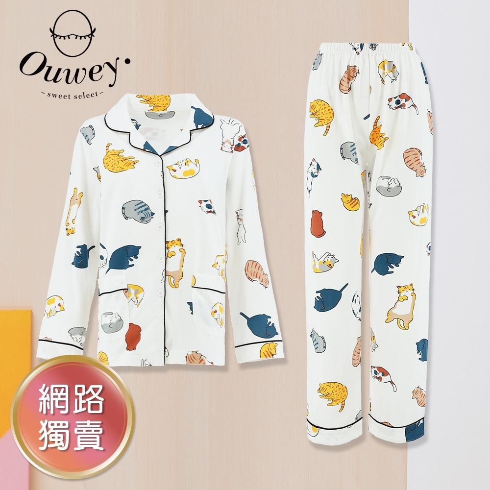 OUWEY歐薇 童趣貓咪睡姿印花睡衣套裝(白)3212467614