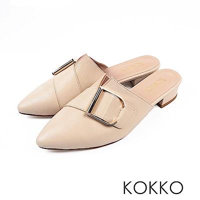 KOKKO - 時髦做自己尖頭穆勒羊皮平底鞋-簡約米