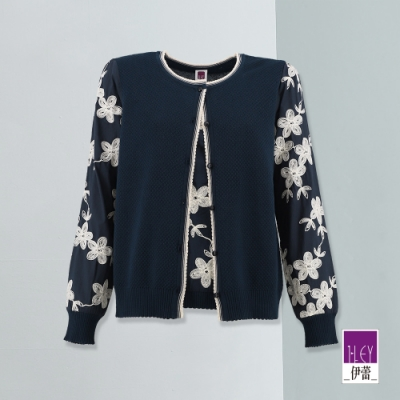 ILEY伊蕾 刺繡花朵假兩件針織上衣(藍)
