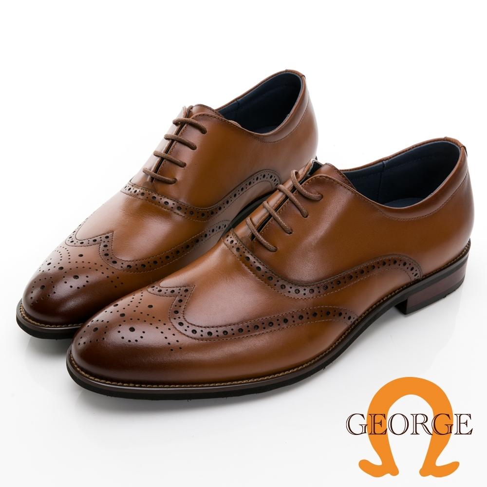 GEORGE 喬治皮鞋經典系列 真皮翼紋雕花牛津鞋 -棕 115013CZ