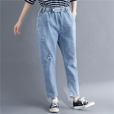 La Belleza鬆緊腰釦環大腿抓破復古刷色牛仔褲