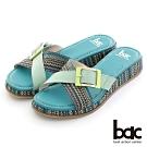 【bac】異材質交叉鞋面厚底台拖涼鞋-湖水綠