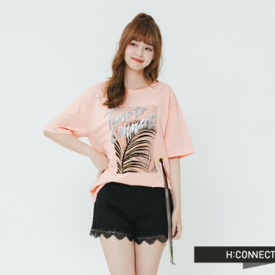 H:CONNECT 韓國品牌 女裝-造型織帶印花T-shirt-粉