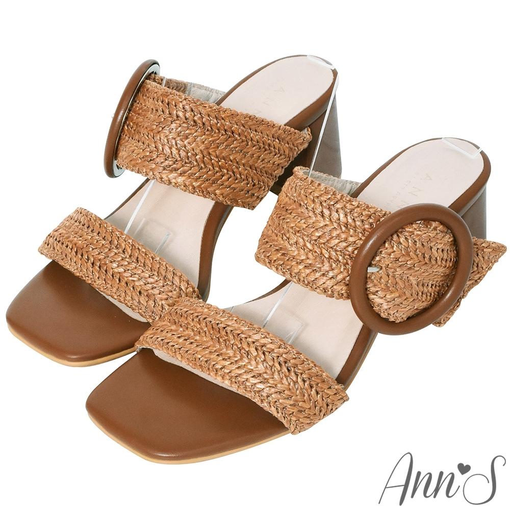 Ann'S日系渡假感-圓釦寬帶編織方頭粗跟涼拖鞋-棕