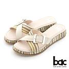 【bac】異材質交叉鞋面厚底台拖涼鞋-米色