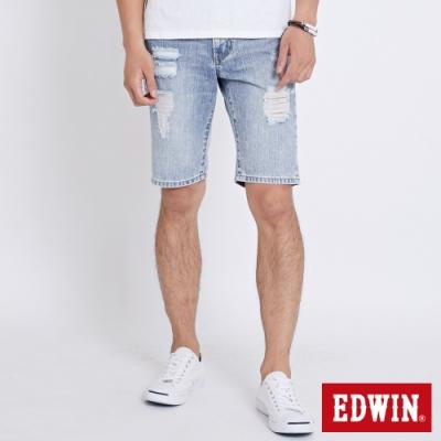 EDWIN 503 重水洗刷破加工 牛仔短褲-男-重漂藍