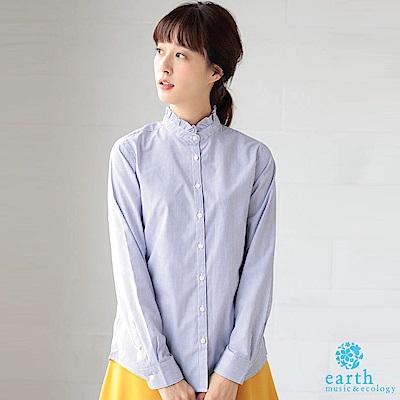 earth music 荷葉立領長袖襯衫