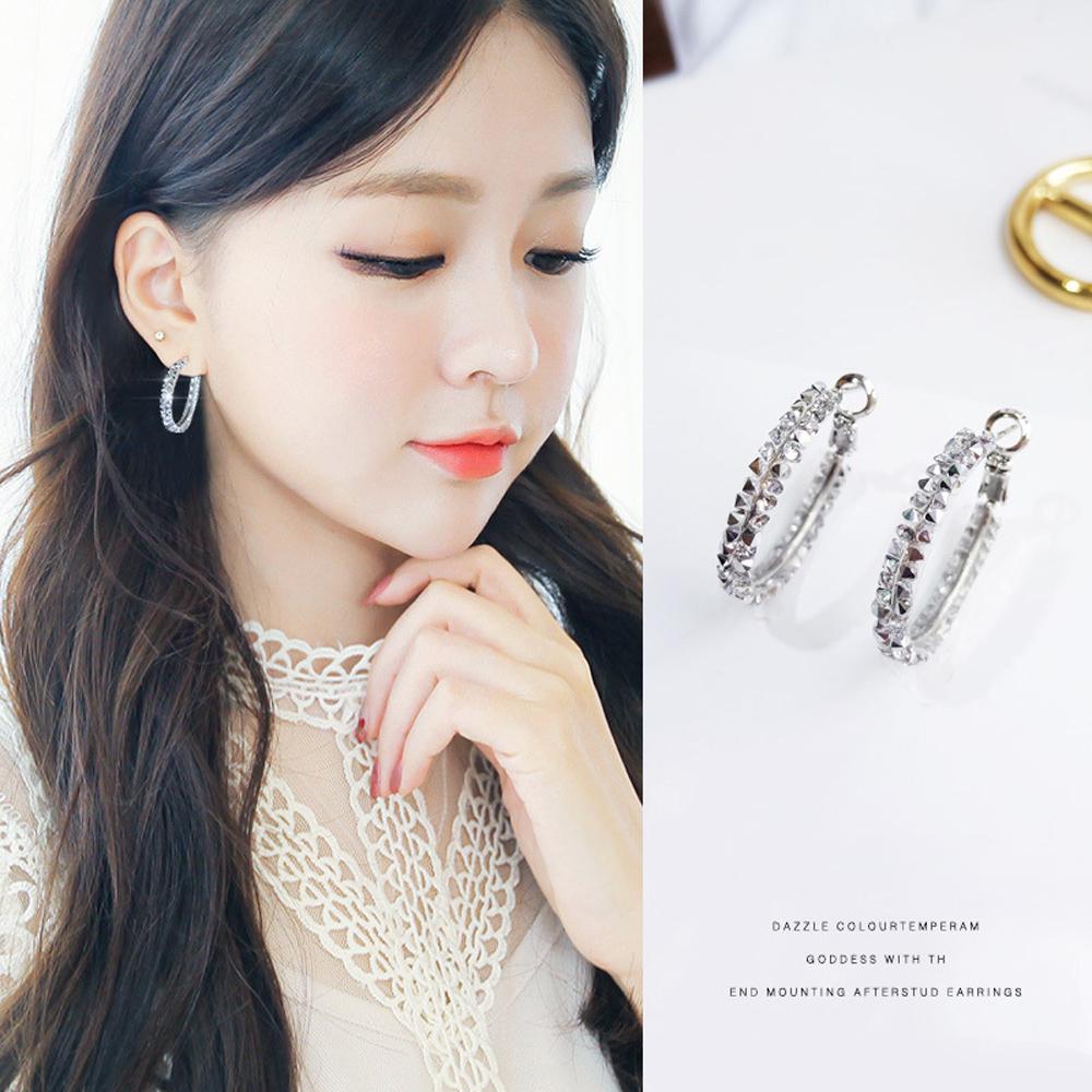 梨花HaNA 韓國925銀銀珠透亮水鑽圈飾耳環