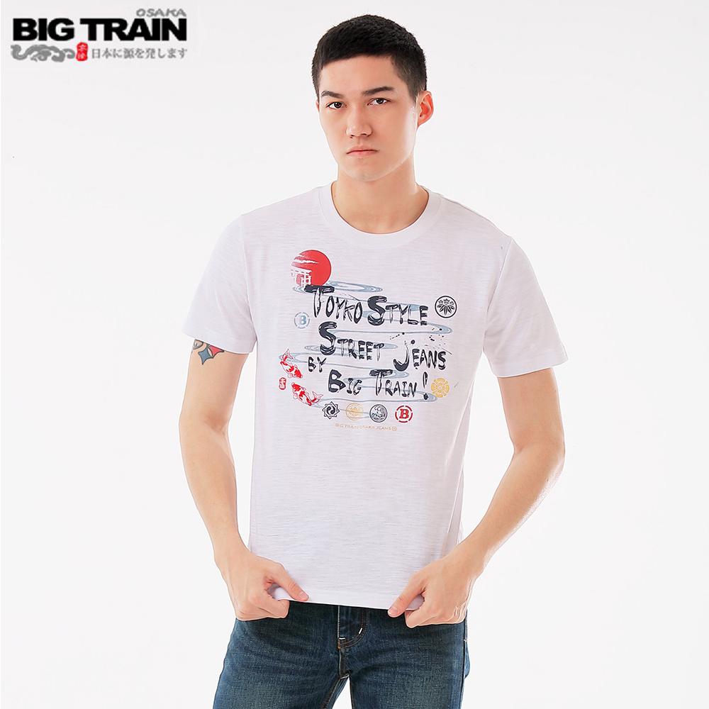 BigTrain和風家徽圓領短袖T男款-男-白色